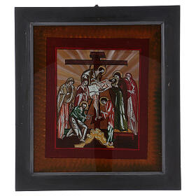 Icon The Lamentation of Christ painted on glass 40x40 cm Romania s1