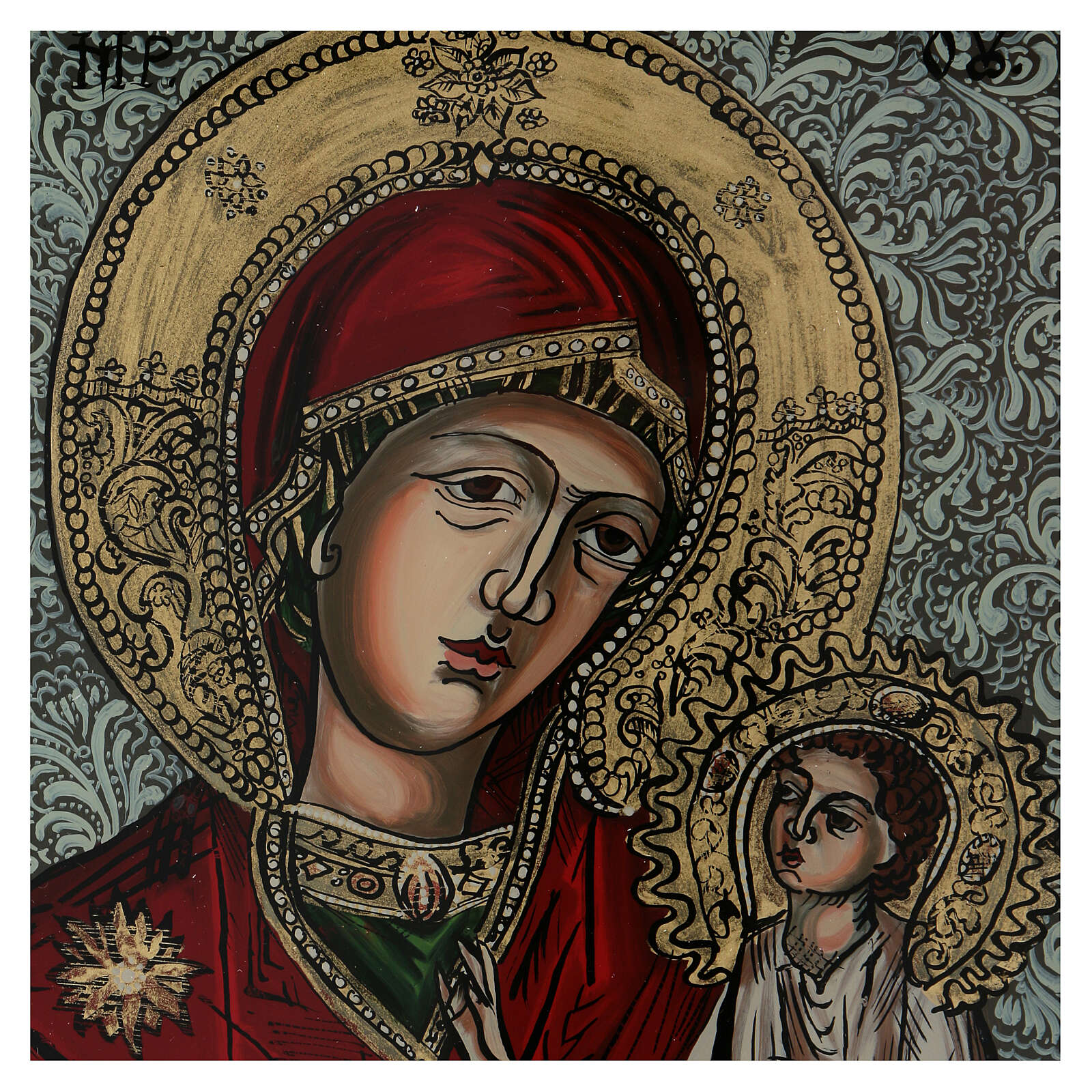 Icono Madre de Dios que bendice pintado vidrio 40x40 cm pintado 4