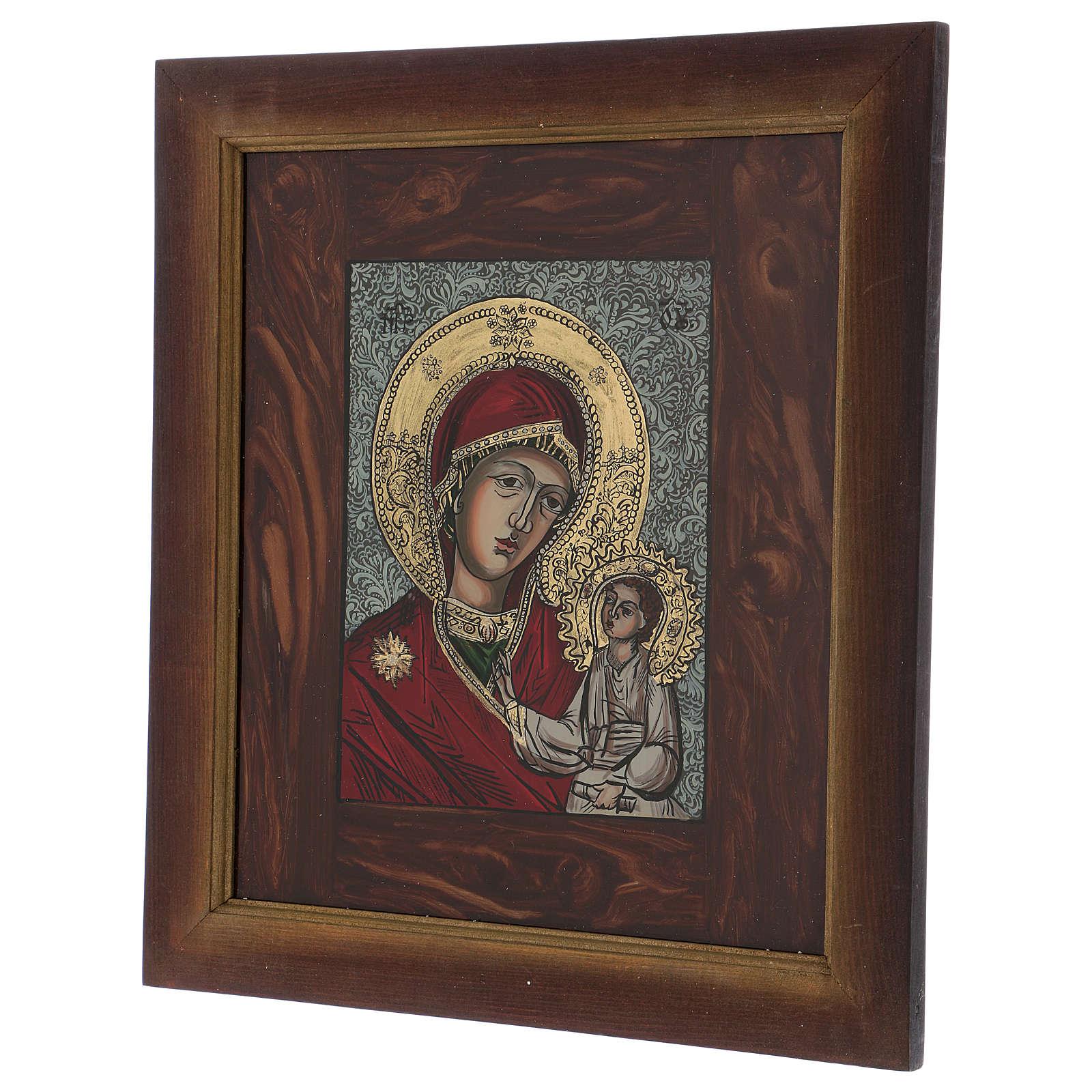Icône Mère de Dieu Jésus bénissant peinte sur verre 40X40 cm Roumanie 4