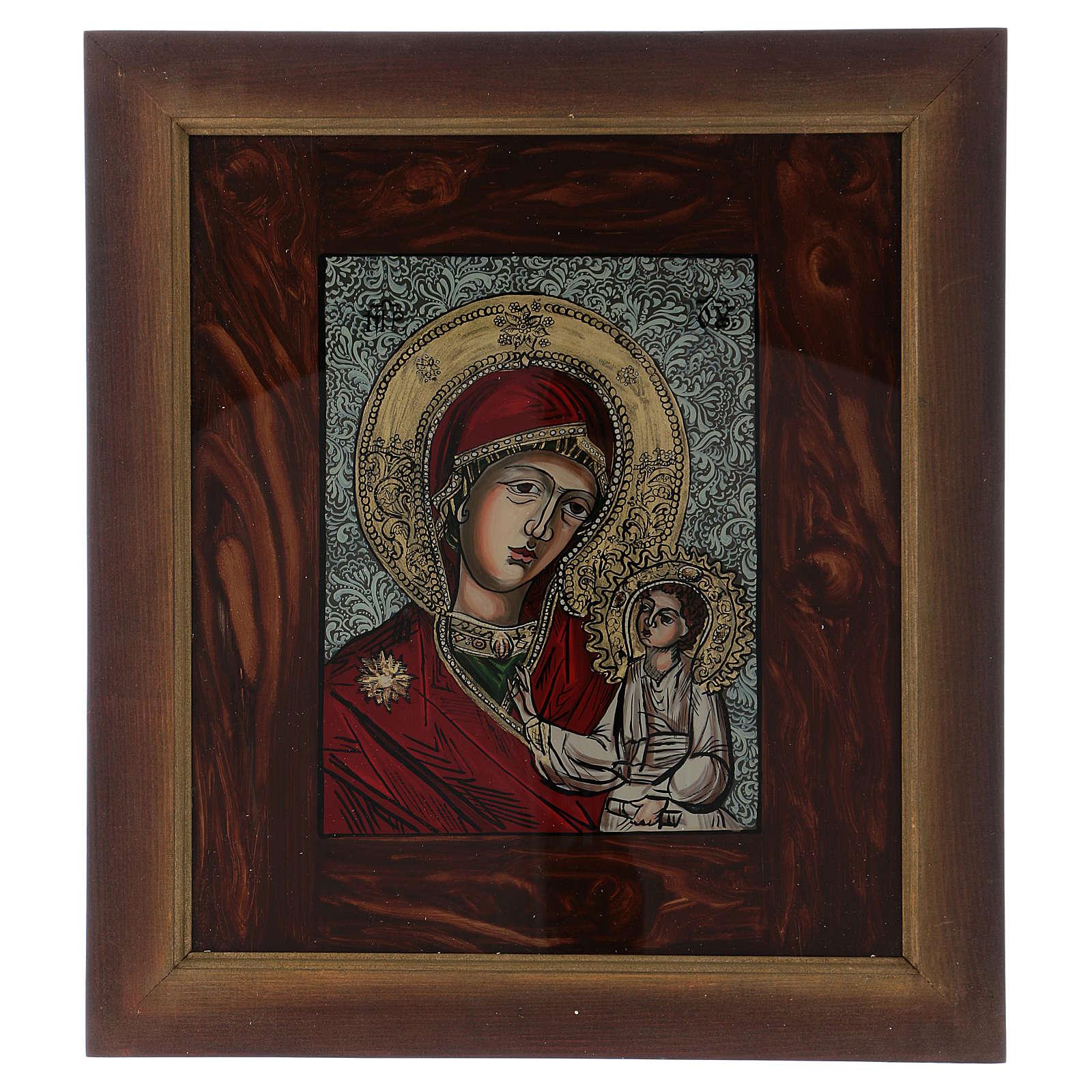 Icona Madre di Dio Gesù benedicente dipinta su vetro 40X40 cm dipinta 4
