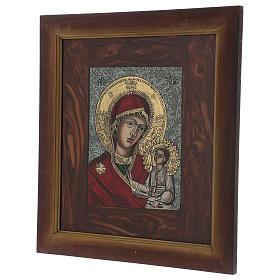 Icona Madre di Dio Gesù benedicente dipinta su vetro 40X40 cm dipinta s3