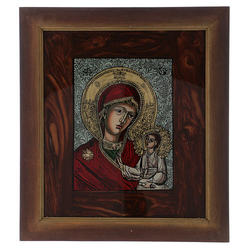 Icona Madre di Dio Gesù benedicente dipinta su vetro 40X40 cm dipinta 1