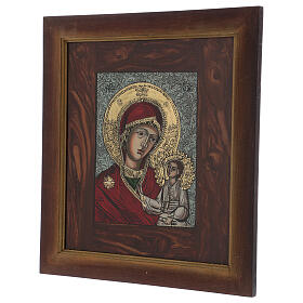 Icon Blessed Mother of God painted on glass 40x40 cm s3