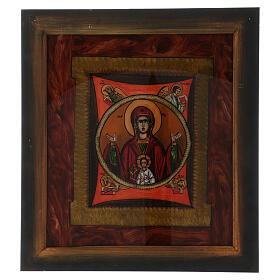 Icono Madre de Dios del Signo pintado vidrio 40x40 cm Rumanía s1