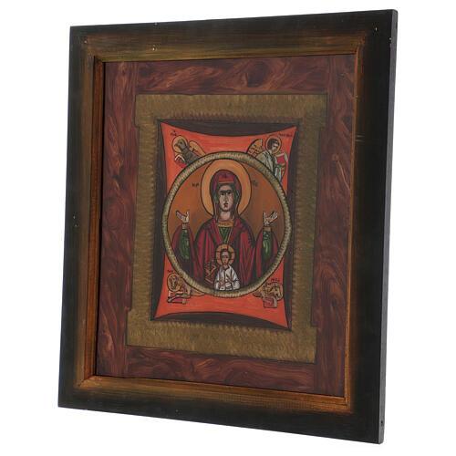 Icono Madre de Dios del Signo pintado vidrio 40x40 cm Rumanía 3