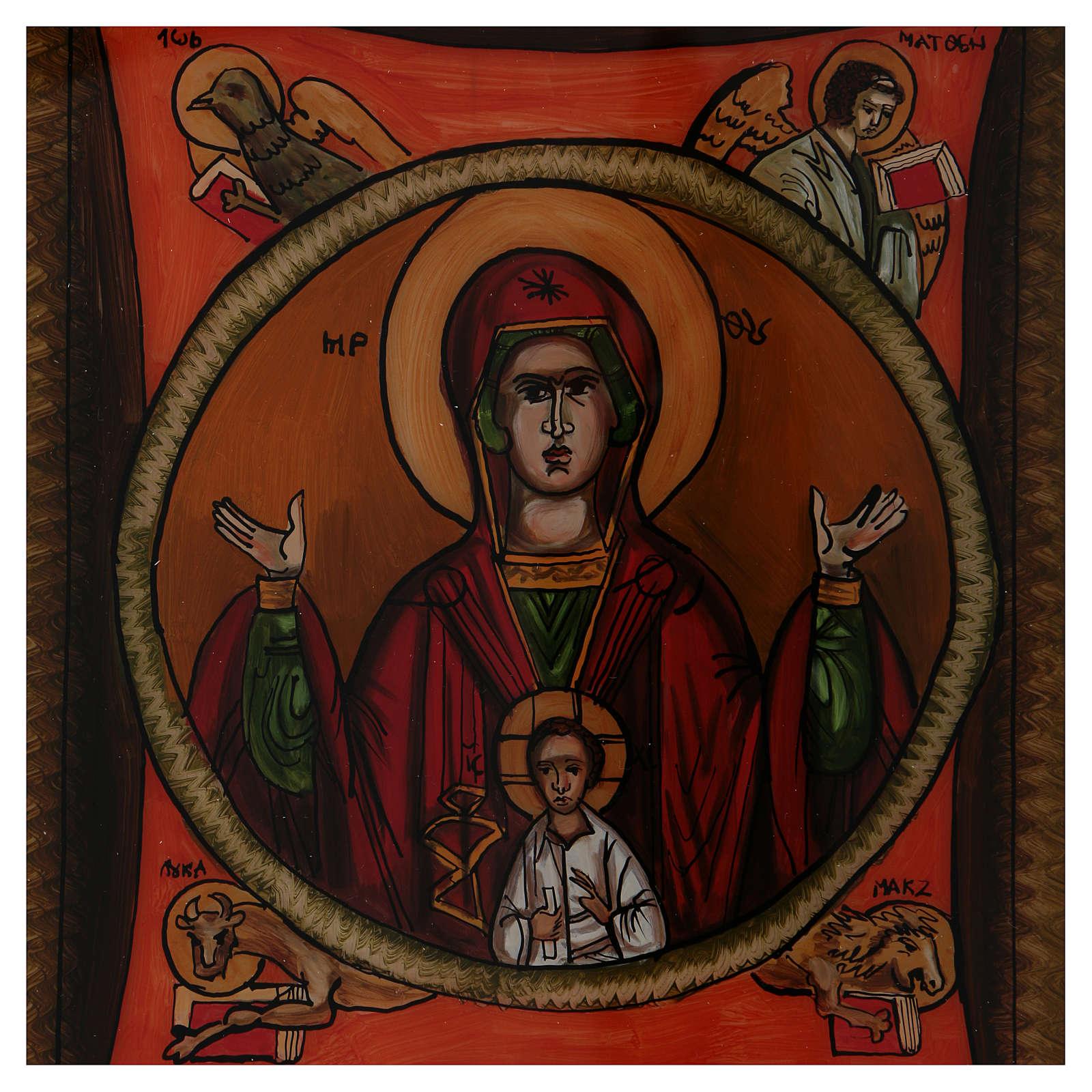 Icône Mère de Dieu du Signe peinte sur verre 40X40 cm Roumanie 4