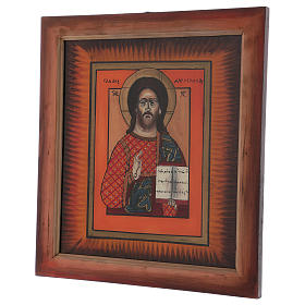 Icon of Jesus the Master and Judge by hand on glass 40X40 cm s3