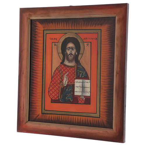 Icon of Jesus the Master and Judge by hand on glass 40X40 cm 3