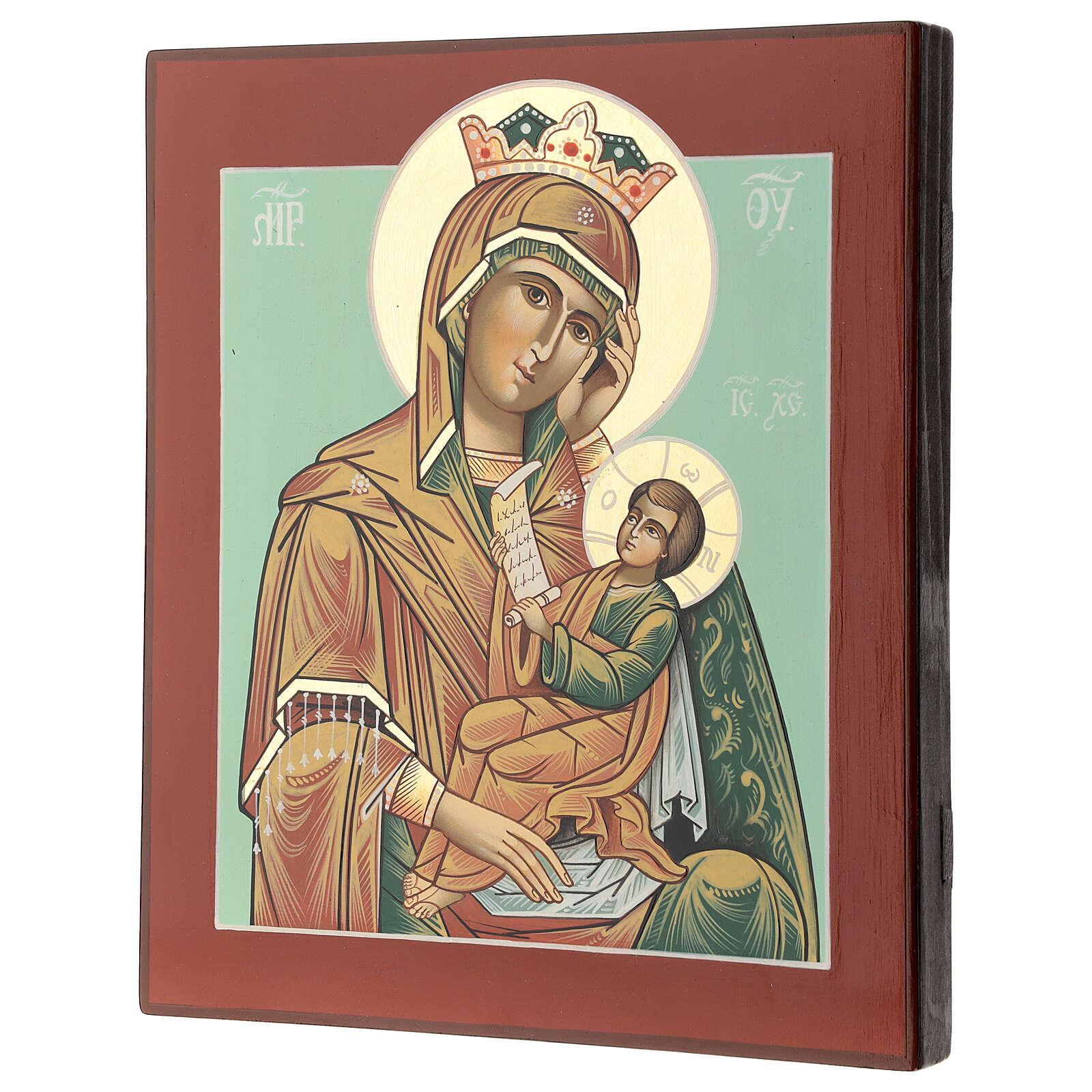 Icono Madre Dios Consuela Pena 28x24 cm Rumanía pintado estilo ruso 4