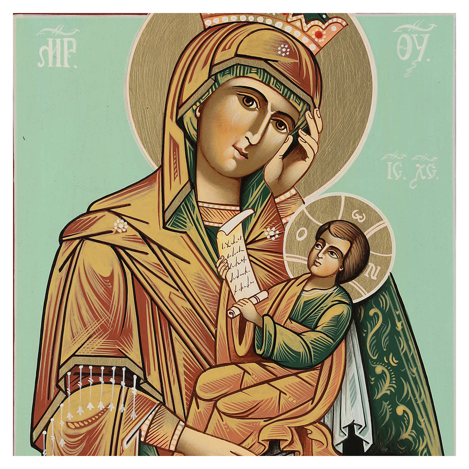 Icône Mère de Dieu Soulage ma Peine 28x24 cm Roumanie peinte style russe 4