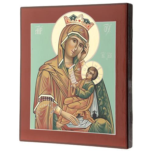 Icona Madre Dio Consola Pena 28x24 cm Romania dipinta stile russo 3