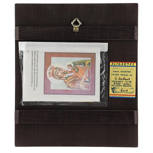 Icona Madre Dio Consola Pena 28x24 cm Romania dipinta stile russo 4