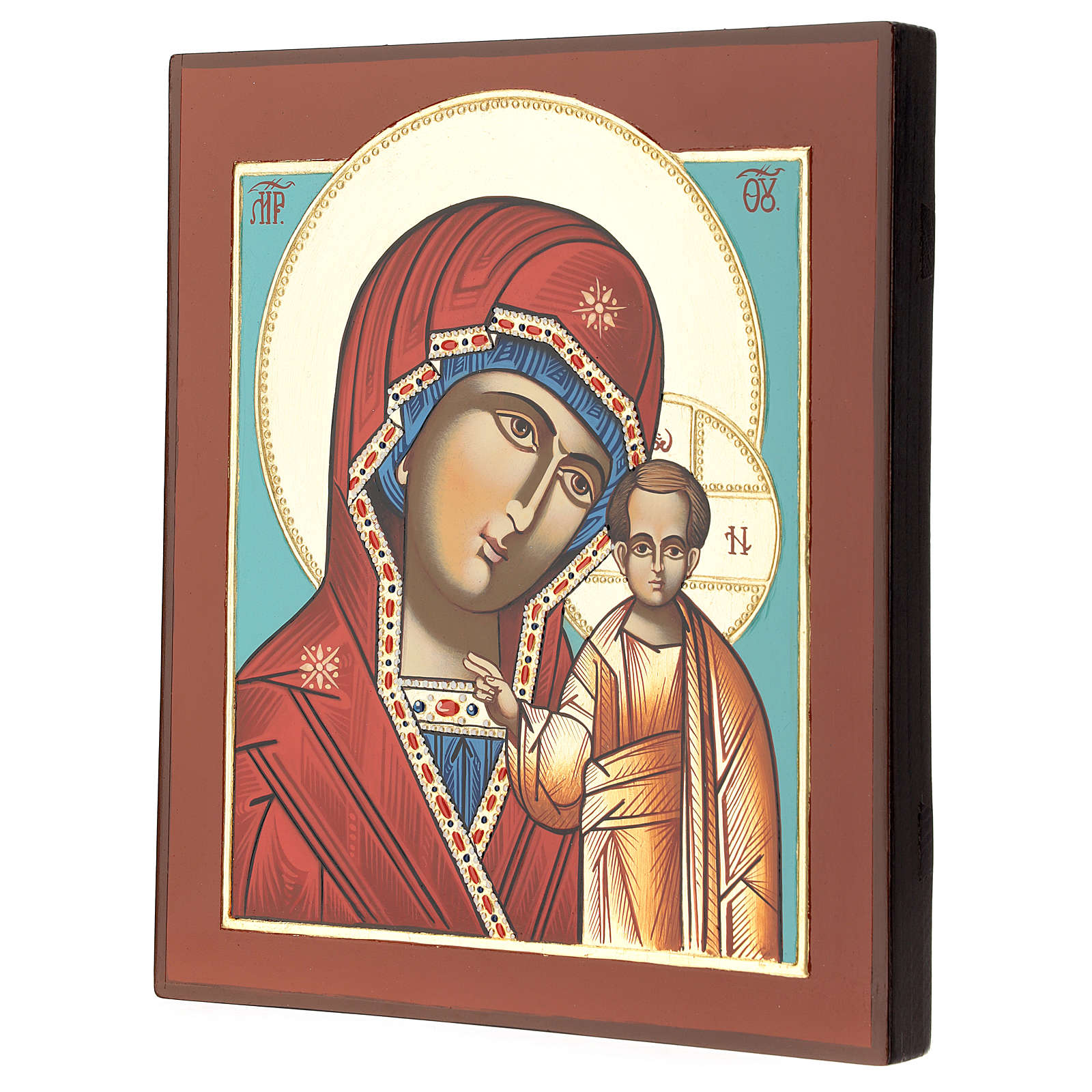 Icona Madre Dio Kazanskaja 28x24 cm Romania dipinta stile russo 4