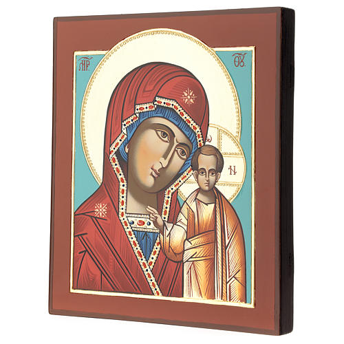 Icona Madre Dio Kazanskaja 28x24 cm Romania dipinta stile russo 3