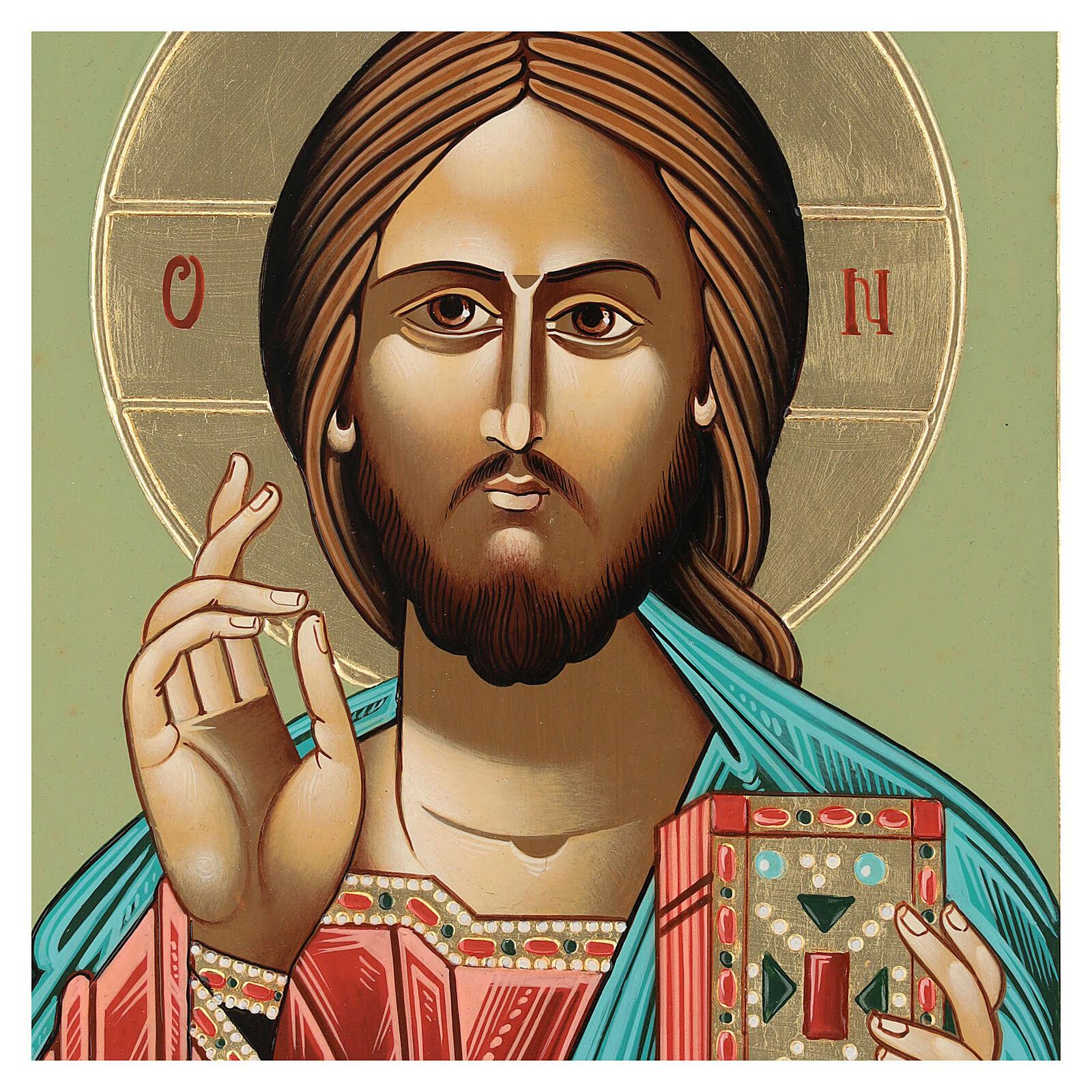 Icono Jesús Maestro y Juez 28x24 cm Rumanía pintado estilo ruso 4