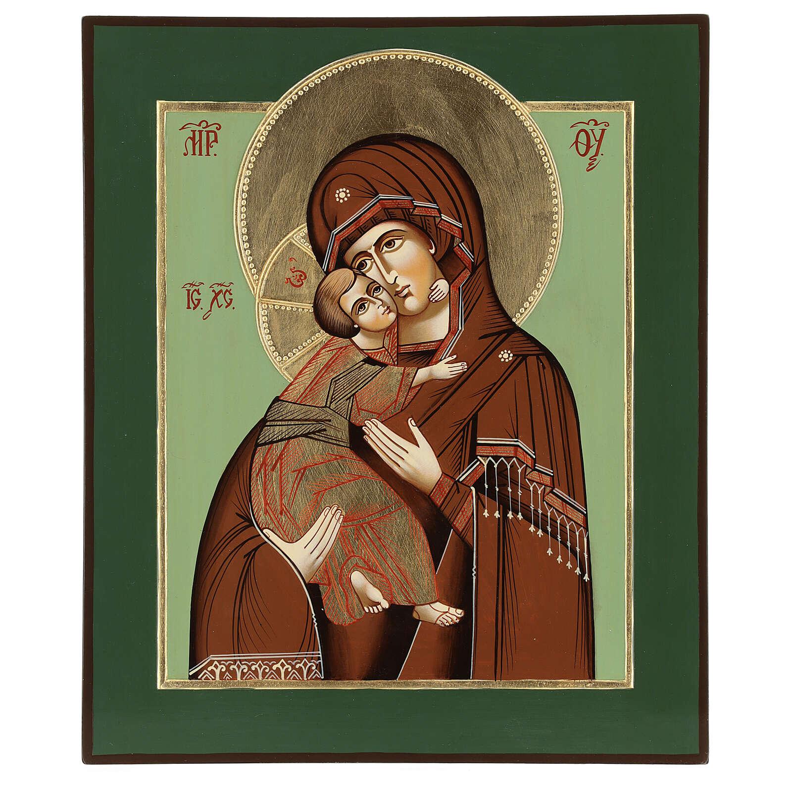 Icono Virgen Ternura Vladimirskaja 35x30 cm Rumanía pintado estilo ruso 4