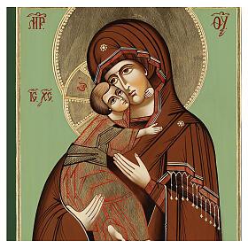 Icono Virgen Ternura Vladimirskaja 35x30 cm Rumanía pintado estilo ruso s2