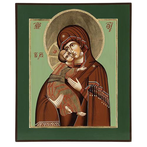 Icono Virgen Ternura Vladimirskaja 35x30 cm Rumanía pintado estilo ruso 1