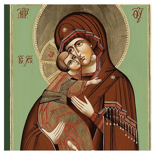 Icono Virgen Ternura Vladimirskaja 35x30 cm Rumanía pintado estilo ruso 2