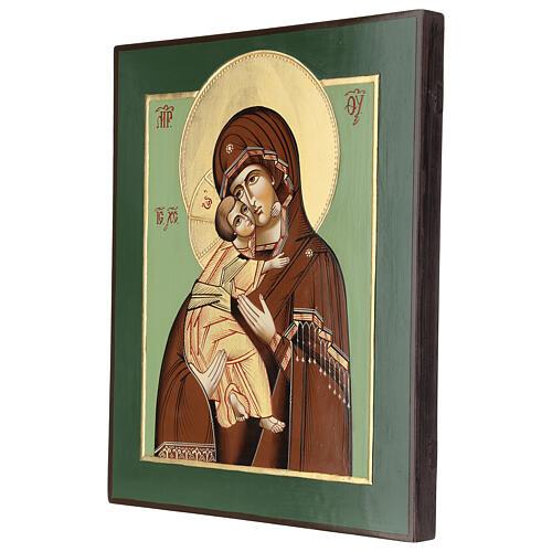 Icono Virgen Ternura Vladimirskaja 35x30 cm Rumanía pintado estilo ruso 3