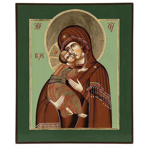 Icône Vierge de Tendresse Vladimirskaja 35x30 cm Roumanie peinte style  russe 1