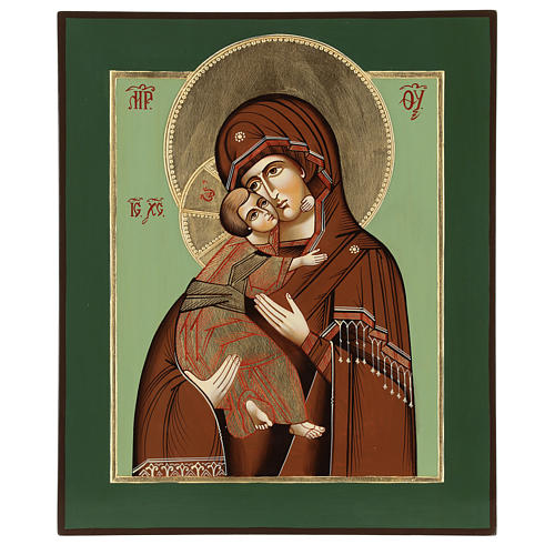 Icona Madonna Tenerezza Vladimirskaja 35x30 cm Romania dipinta stile russo 1