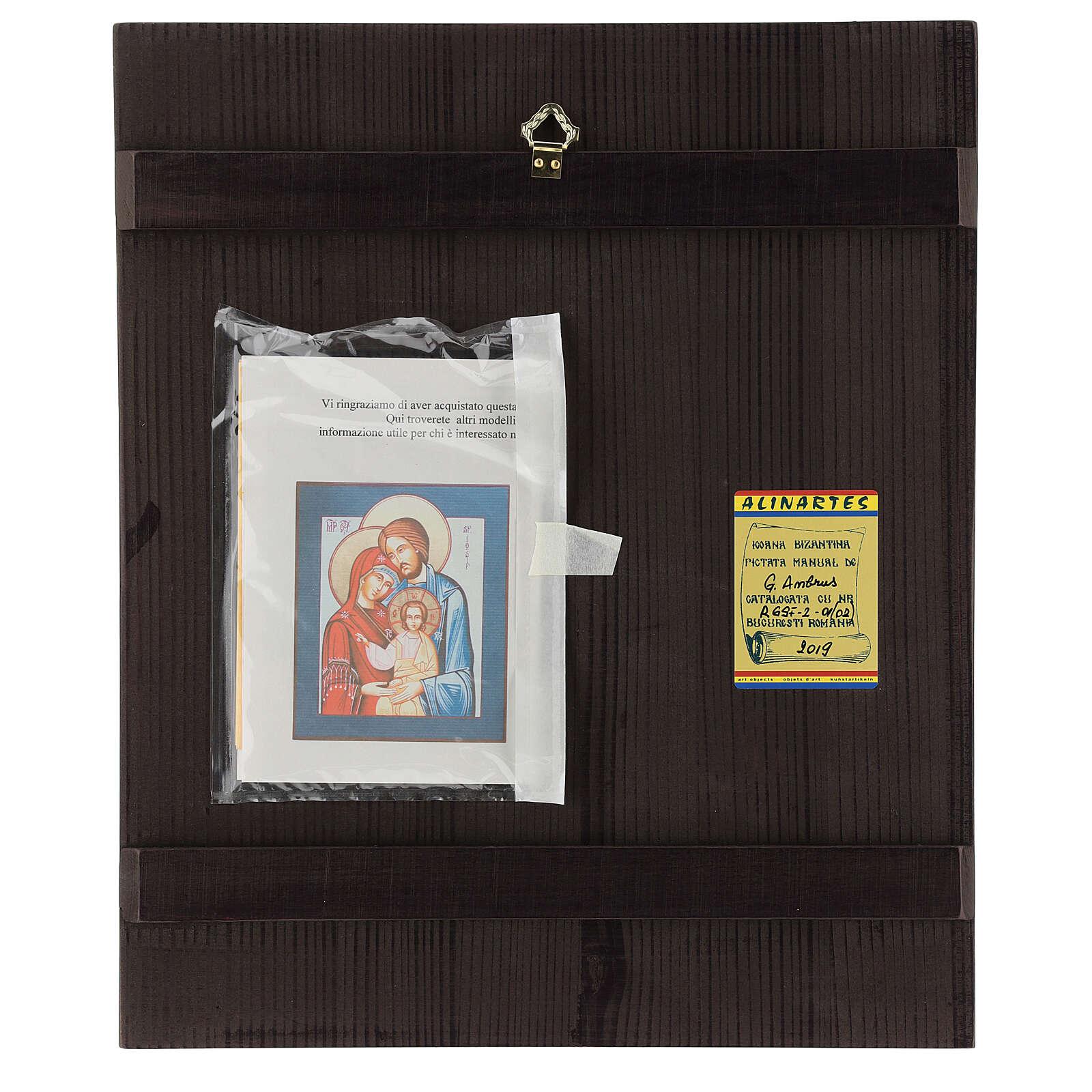 Icono Sagrada Familia 35x30 cm Rumanía pintado estilo ruso 4