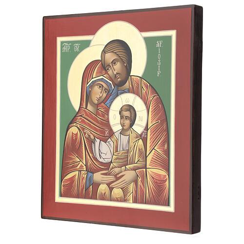 Icono Rumanía Sagrada Familia 32x28 cm pintado estilo ruso 3