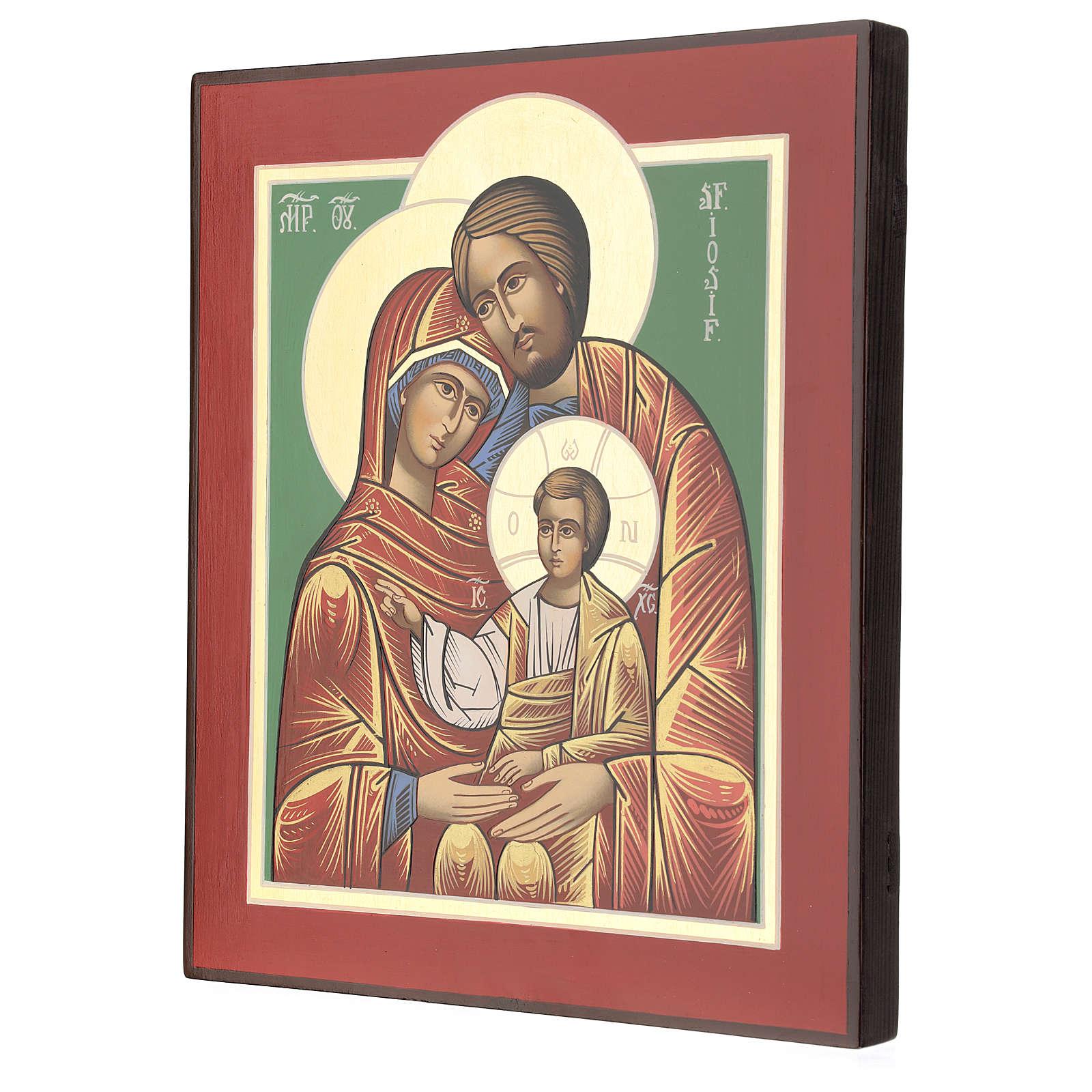 Icona Romania Santa Famiglia 32x28 cm dipinta stile russo 4