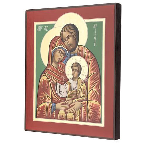 Icona Romania Santa Famiglia 32x28 cm dipinta stile russo 3