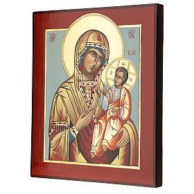 Icono Madre Dios Hodighitria-Smolenskaja 32x28 cm Rumanía pintado estilo ruso s3