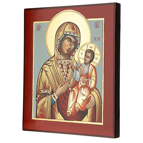 Icono Madre Dios Hodighitria-Smolenskaja 32x28 cm Rumanía pintado estilo ruso 3