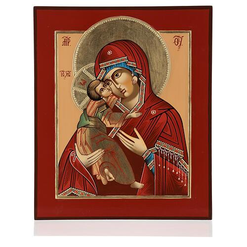 Icono Madre Dios Ternura Vladimirskaja 35x30 cm Rumanía pintado estilo ruso 1