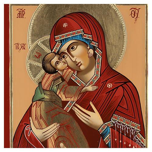 Icono Madre Dios Ternura Vladimirskaja 35x30 cm Rumanía pintado estilo ruso 2
