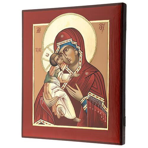 Icono Madre Dios Ternura Vladimirskaja 35x30 cm Rumanía pintado estilo ruso 3