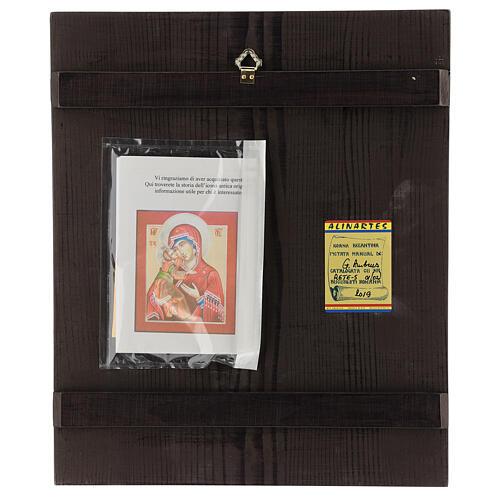 Icono Madre Dios Ternura Vladimirskaja 35x30 cm Rumanía pintado estilo ruso 4