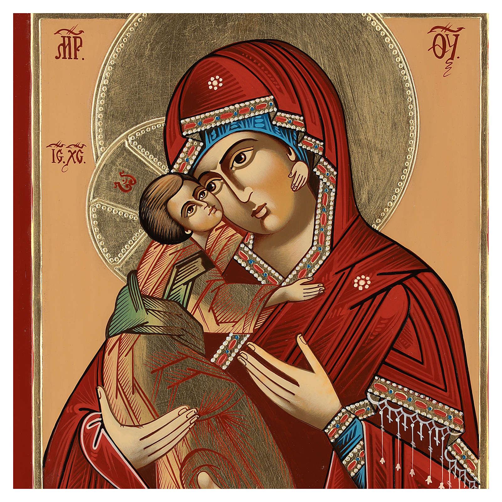 Icona Madre Dio Tenerezza Vladimirskaja 35x30 cm Romania dipinta stile russo 4