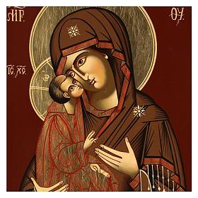 Icône Mère de Dieu Donskaja 33x28 cm Roumanie peinte style  russe s2