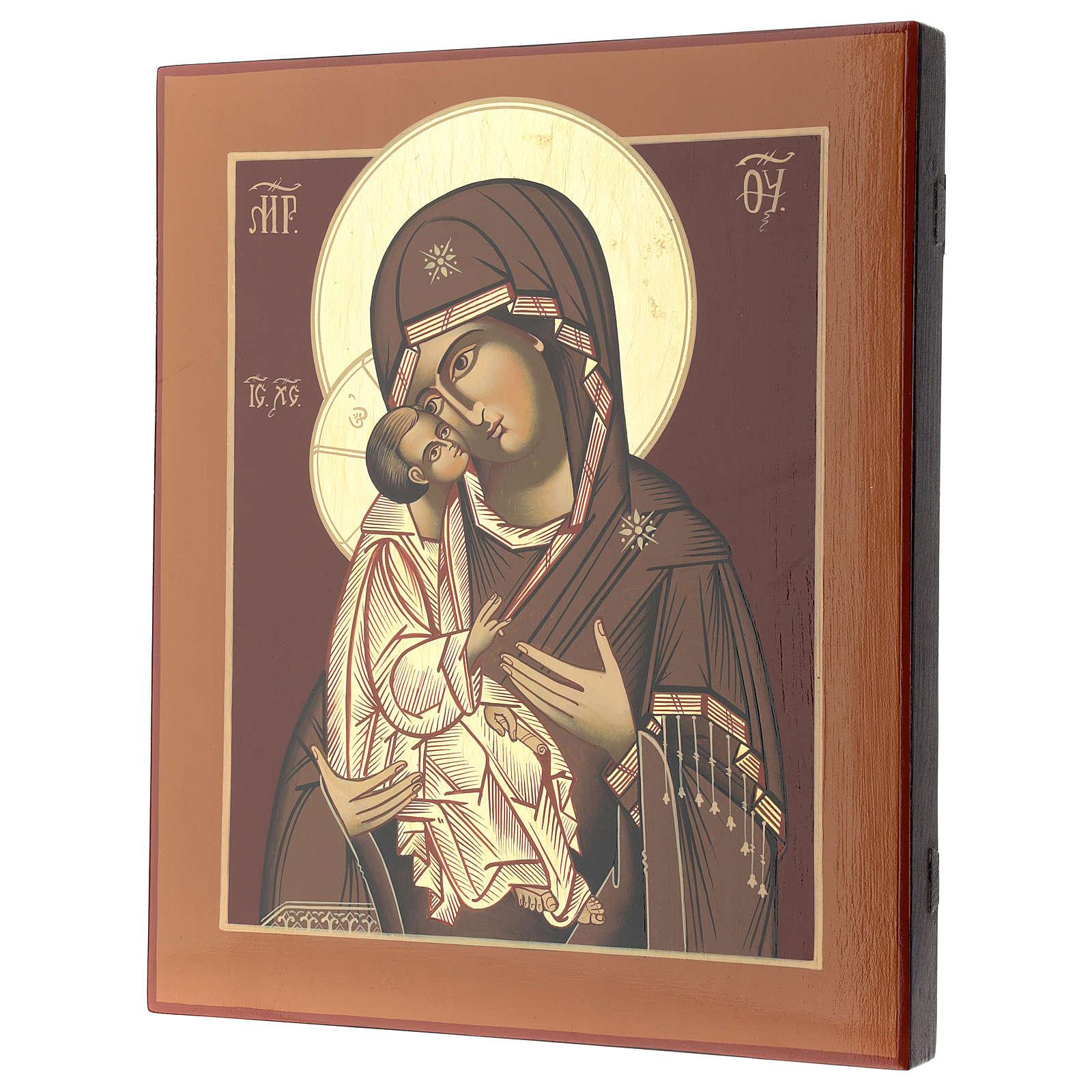 Icona Madre di Dio Donskaja 32x28 cm Romania dipinta stile russo 4