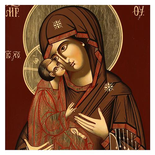 Icona Madre di Dio Donskaja 32x28 cm Romania dipinta stile russo 2