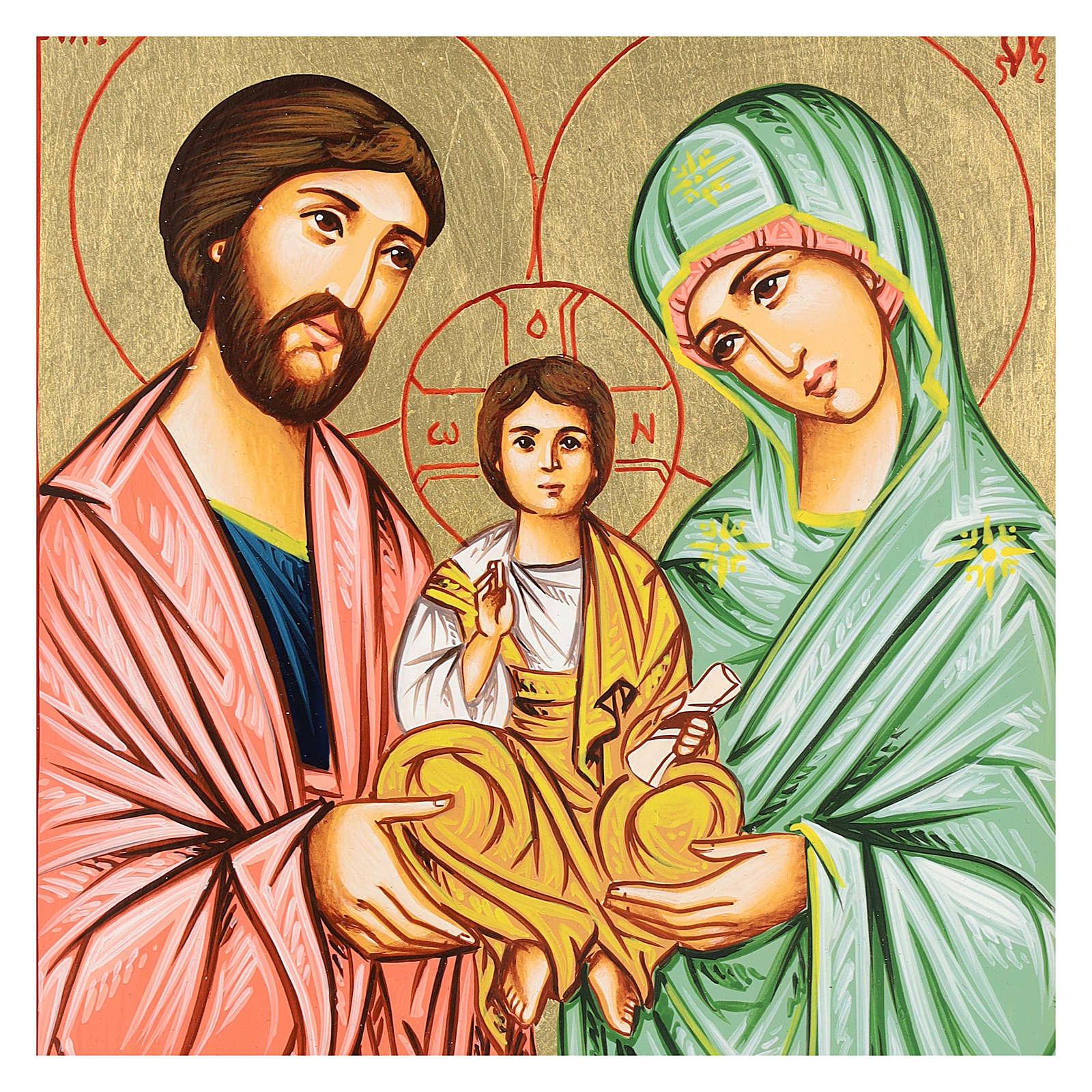 Icona Sacra Famiglia rumena dipinta a mano 22x18 cm 4