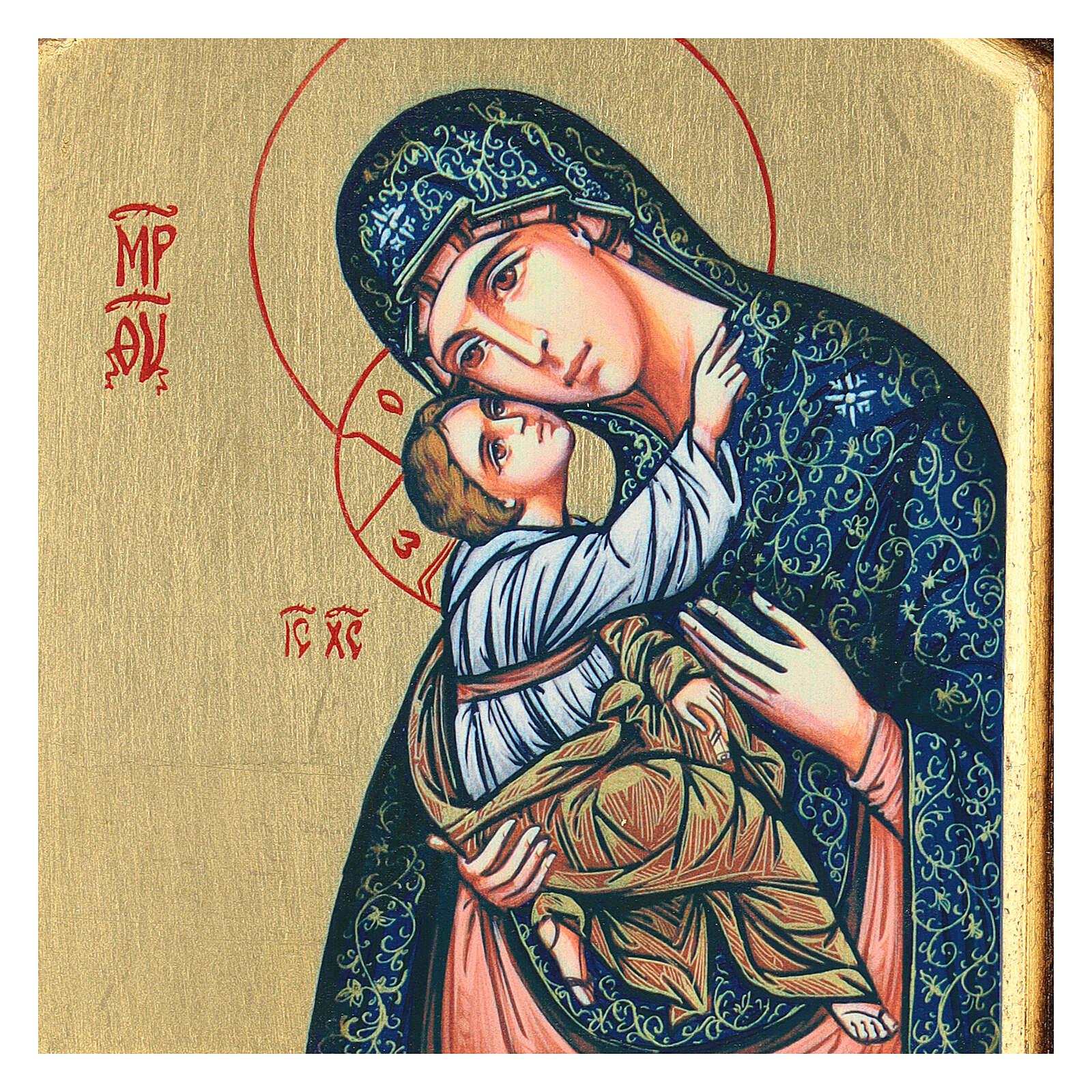 Icono serigrafado Virgen Niño tallado fondo oro 22x18 cm 4