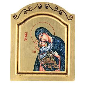 Icono serigrafado Virgen Niño tallado fondo oro 22x18 cm s1