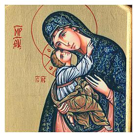 Icono serigrafado Virgen Niño tallado fondo oro 22x18 cm s2