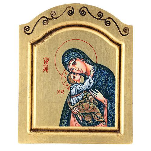 Icono serigrafado Virgen Niño tallado fondo oro 22x18 cm 1