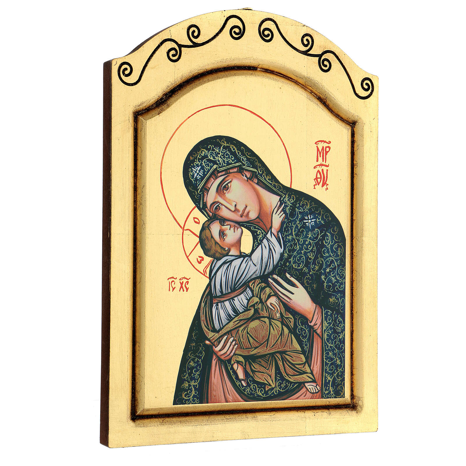 Icono Virgen Niño serigrafado tallado 32x22 cm 4