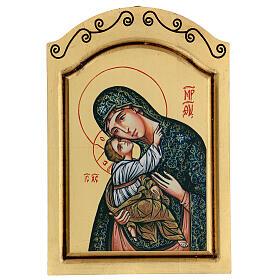 Icono Virgen Niño serigrafado tallado 32x22 cm s1