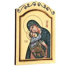 Icono Virgen Niño serigrafado tallado 32x22 cm s4