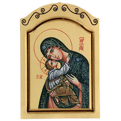 Icono Virgen Niño serigrafado tallado 32x22 cm 1