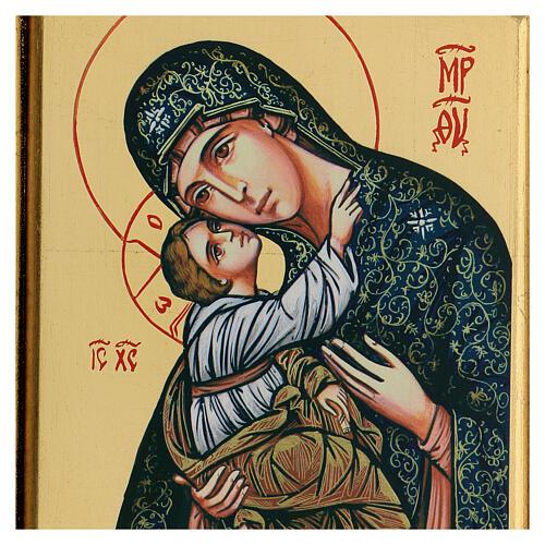 Icono Virgen Niño serigrafado tallado 32x22 cm 2